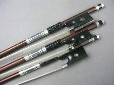 3pcs Silver Mounted violin bow,Strong Pernambuco Carbon fiber violin bow 4/4