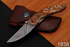 Forged Damascus Steel Folding Knife Engraved Copper Bolster Resin Handle-1838