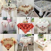 Vintage Embroidered Lace Tablecloth Square Table Cloth Cover Mat Wedding Party