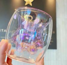 Hot New Starbucks Purple Sakura Cat's Paw Double Wall Glass Mug Single Cup 6oz