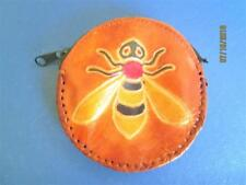VINTAGE SHEEP SKIN LEATHER COIN CHANGE PURSE WITH FLYING INSECT MADE IN INDIA