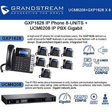 Grandstream GXP1628 IP Phone 8-UNITS + UCM6208 8 Port IP PBX Gigabit New
