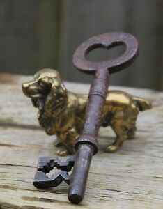 ANTIQUE / VINTAGE SKELETON DOOR KEY LARGE-RUSTIC-METAL-FRENCH-COLLECTIBLE (2)