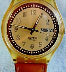 VINTAGE SWATCH 2002 *DAY DATE* WATCH IP36 NEW BATTERY WORKING AS  A QUARTZ CAN