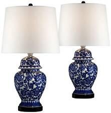Asian Table Lamps Set of 2 Porcelain Blue White Jar for Living Room Bedroom
