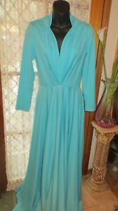 DRESS LONG VINTAGE 70'S does 50'S ~ CASA VANESSA ~ Aqua Long DRESS * Size 10 *