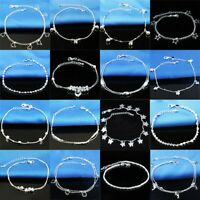 925 Silver Ankle Sterling CZ Love Anklet Chains Bracelet Beach Feet Foot Jewelry