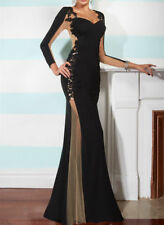 Black Mermaid Lace applique Prom Dresses Long Sleeve Party Formal Evening Gowns