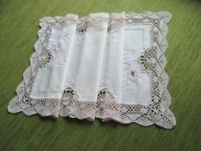 """PRETTY TABLE RUNNER-HAND EMBROIDERY+BOBBIN LACE-12""""x 27"""""""