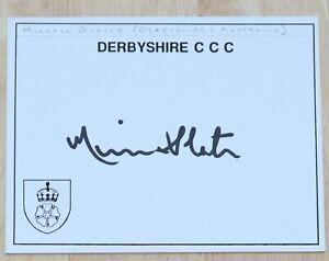 MICHAEL SLATER DERBYSHIRE CRICKET AUTOGRAPH HAND SIGNED INDEX CARD