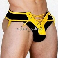 Sexy Men Lace Up Briefs Jock Strap Shorts G-string Underwear Thong Underpant Hot