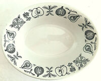 "Myotts Silhouette Oval Serving Bowl Ivory w/ Black Fruit Vegetables 2""x9""x7"" EUC"