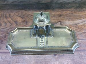 ANTIQUE / VINTAGE BRASS & GLASS INKWELL & PEN STAND, FREE UK DELIVERY