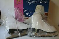 American Athletic 522 Figure Ice Skates Tricot Lined Size 5 Ladies White -VG con