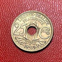 #3835 - RARE -  25 centimes 1939 Lindauer SPL/FDC sortie de rouleau - FACTURE