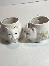 3D Vintage Collectible Cat Mug Or Planter  With Flowers PMC 2 Pc Set