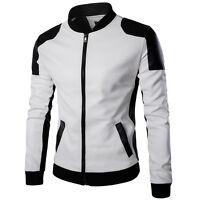 Men's Fashion Slim Fit Motorcycle PU Leather Biker Jacket Coat Bomber Outwear