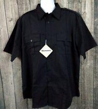North End Men's Work Service Wear Shirt Size XL Black Poly Cotton Button S/S New