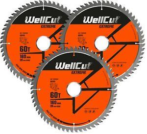 3 x WellCut TCT Saw Blade 160mm x 60T x 20mm Bore Suitable For Festool TS55 HK55