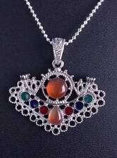 BEAUTIFUL RED AGATE STONE SILVER PENDANT and chain  #P81