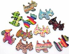 10 Wooden Cute Scotty Dog 2 Hole Buttons, Craft, Sewing, Scrapbooking - BU1193