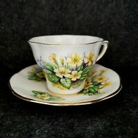 VINTAGE CLARE BONE CHINA  ENGLAND TEACUP AND SAUCER YELLOW FLOWERS NUMBERED