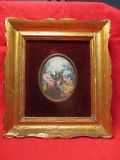"""Ancienne peinture miniature """" Scène de genre : La pastorale d'après Boucher """""""