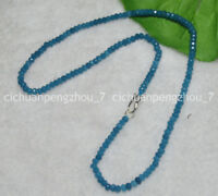 "Faceted 2x4mm Blue Aquamarine Rondelle Gems Beads Necklace 17-24"" Silver Clasp"