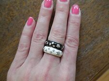 NEW Enamel stackable ring 1 Moon & Stars Silver Tone Black Band size 8