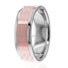 10K Solid White & Rose Gold Mens Wedding Band Womens Wedding Ring His Hers Bands