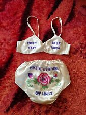 Vintage 1940s Lingerie WWII Sweetheart Bra & Panties Set Sweet Sour Off Limits