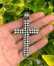 Sterling Silver 925 Dotted Ball Bead Design Large Slide Cross Pendant