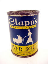 1933 Clapps Baby Foods Can Tin Container Liver Soup