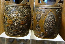 ANTIQUE ISLAMIC DAMASCUS CALLIGRAPHY ENAMEL SILVER INLAY Bronze POTS