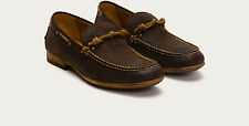 FRYE Henry Knotted Mens Boat Shoe Dark Brown NIB NEW SIZE 7.5