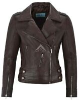 Ladies Leather Jacket Brown Designer Fashion Biker Style Real Lambskin 5816