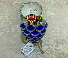 """Faberge Egg Musical Blue Pine Cone with Elephant Surprise (4.7""""). Made Russia"""