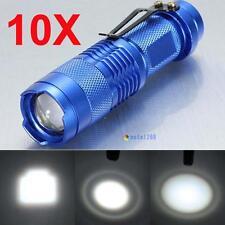 10pcs 3500 Lumens Q5 LED Mini Zoomable Flashlight 14500 AA Torch Lamp Blue UP