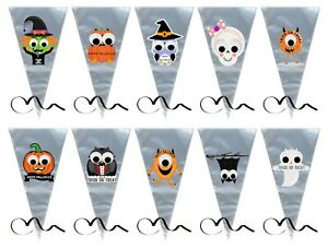 Halloween Sweet Cone Party Filler Cello Bag Black Curling Ribbon Googly Eyes