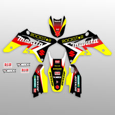 2007 SUZUKI RMZ 450 GRAPHICS STICKERS KIT RMZ450 ROCKSTAR : BLACK / RED DECALS