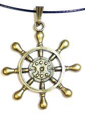 Steuer-Ruder, Bootsbesitzer, Anhänger; Schmuck, Antik-Bronze, Kette gold