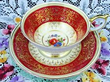 AYNSLEY RICH RED ATHENS SHAPE TEACUP FANCY GOLD FLORAL TEA CUP AND SAUCER