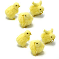 6 x Spring Easter Chicks Decor Lifelike Furry Chicken Figurine Photography Prop