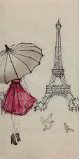 "Tissue - Pocket Size Package of 10 tissues - ""Eiffel Tower "" & Girl w/Umbrella"