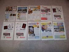 1950's LOT of 10 BUS Greyhound TRAILWAYS Ads from NATIONAL GEOGRAPHIC MAGAZINES
