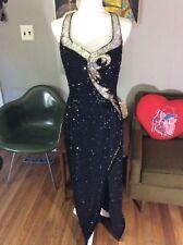 Vtg 80s Mike Benet Black Beaded Sequin Dress Prom Formal Evening Gown 16 LG