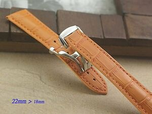 Genuine Leather Band Strap Bracelet (FITS) OMEGA Seamaster 22mm with ss buckle