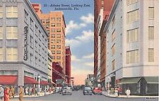 Florida postcard Jacksonville Adams Street looking East busy street scene linen
