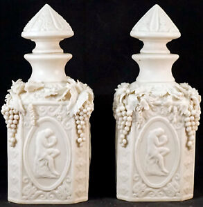 Pair of Antique Parian Ware Lidded Jars Semi Nude Grecian Ladies Grapes & More