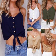 Women Button Sleeveless Chiffon Crop Top Vest Tank T-Shirt Blouse Tops Newly